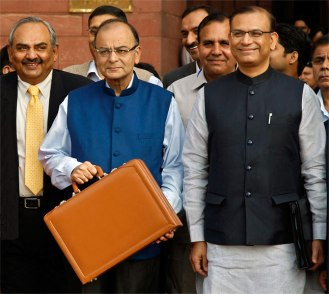 Finance Minister Arun Jaitley before the Budget Session