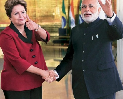 Brazilian President Dilma Rousseff with Indian Prime Minister Narendra Modi